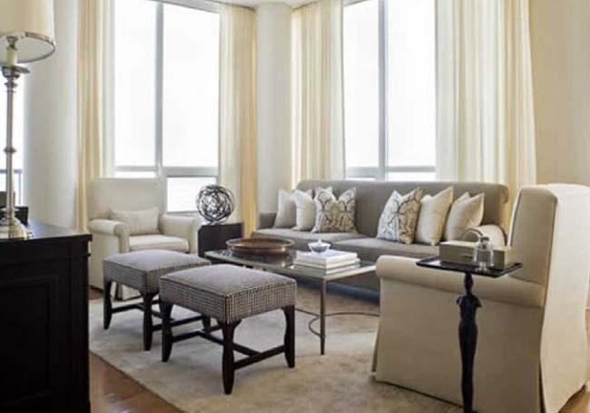 Gri koltuklu salonlarda perdeler nas l olmal dekor ya am for Como decorar un salon rectangular