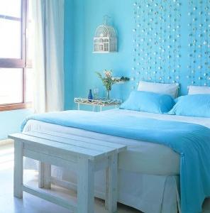 Mavi Yatak Odası Dekoru