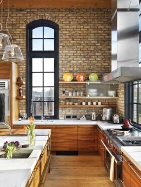 Mutfaklarda Yeni Trend: Tuğla Görünümlü Taş Duvarlar