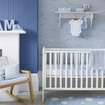 Mavi Beyaz Erkek Bebek Odası