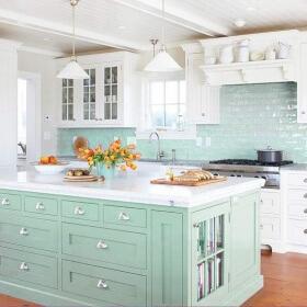Fresh Mutfaklar İçin Mint Yeşili Mutfak Dekorasyonu