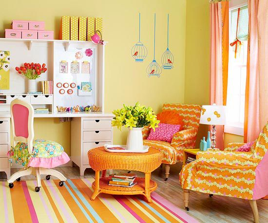 Turuncu Sarı Oturma Odası