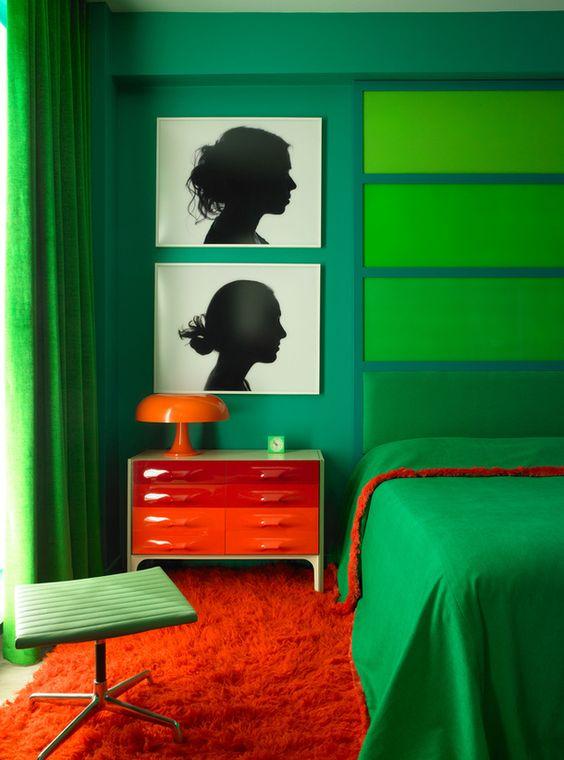 Yeşil Turuncu Yatak Odası