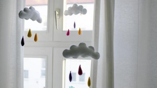 Kendin-Yap Fikirleri: Bebek Odalarına Keçeden Bulut Yapımı