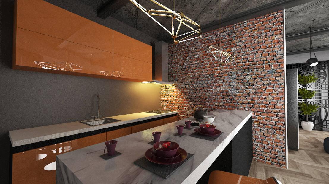 Tuğla Görünümlü Mutfak
