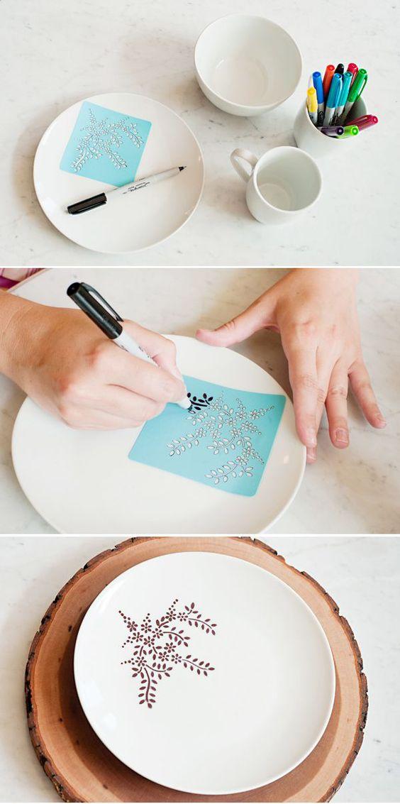 Porselen Tabaklara Kalemle Resim Yapma