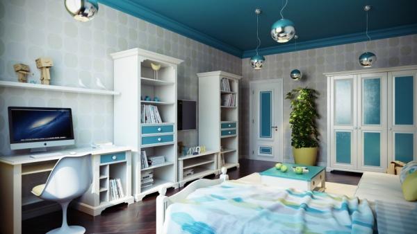 Renkli Tavan Yatak Odası