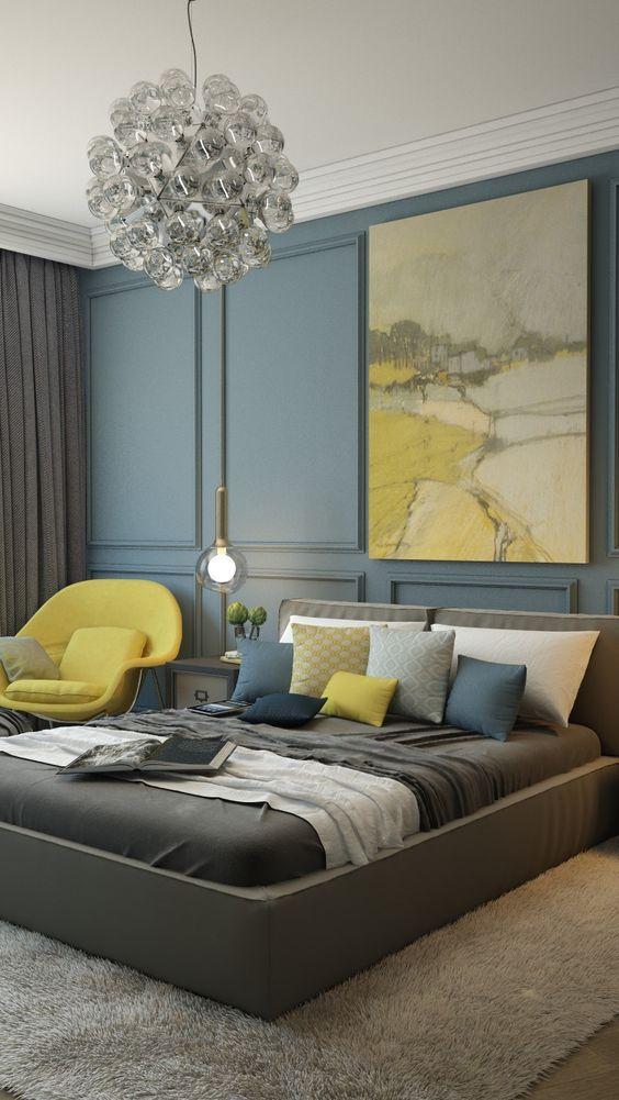 Hardal Sarısı Yatak Odası Dekorasyonu