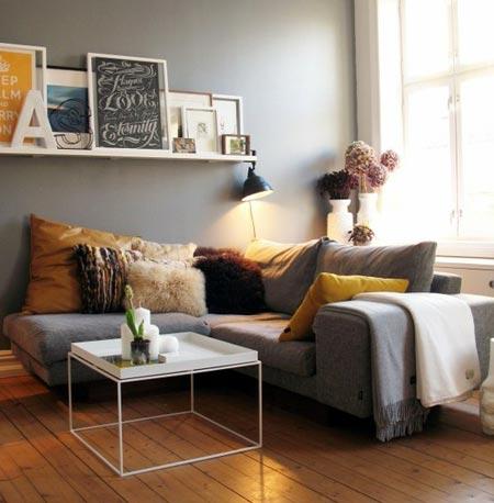 Oturma Odası Hardal Sarısı Mobilya