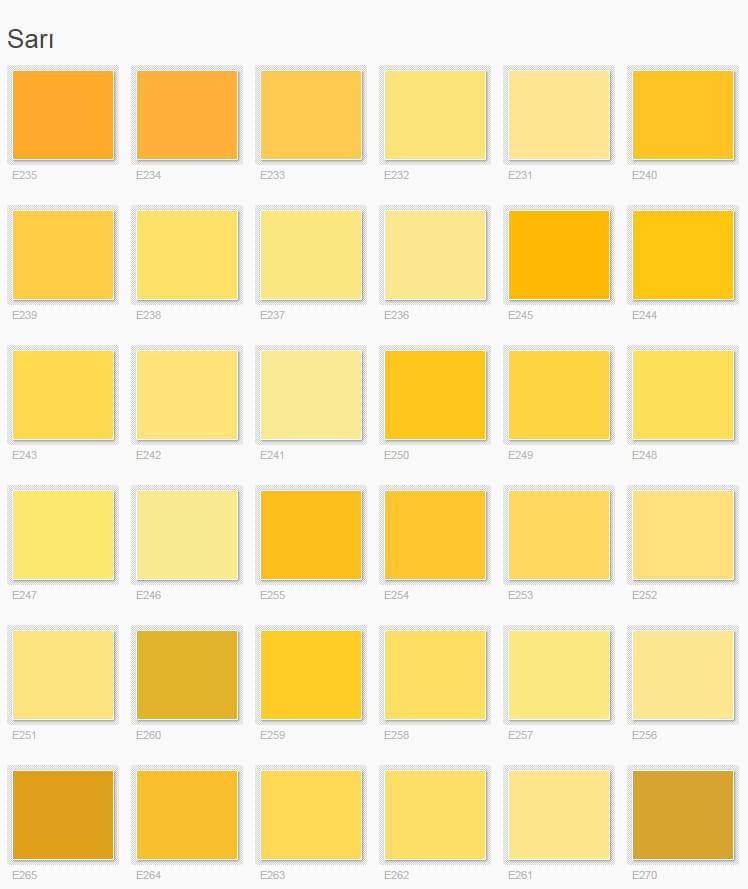 Popüler Filli Boya Sarı Renkler İç Cephe Renk Kartelası ve Kataloğu 2016