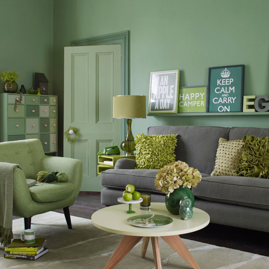 Yeşil Oturma Odası Dekorasyonu