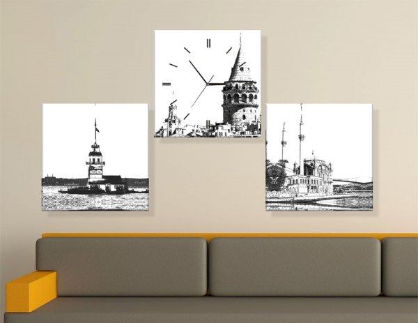 3 Parçalı Kanvas Saat Modelleri