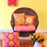 Sarı Pembe Oturma Odası Dekorasyonu