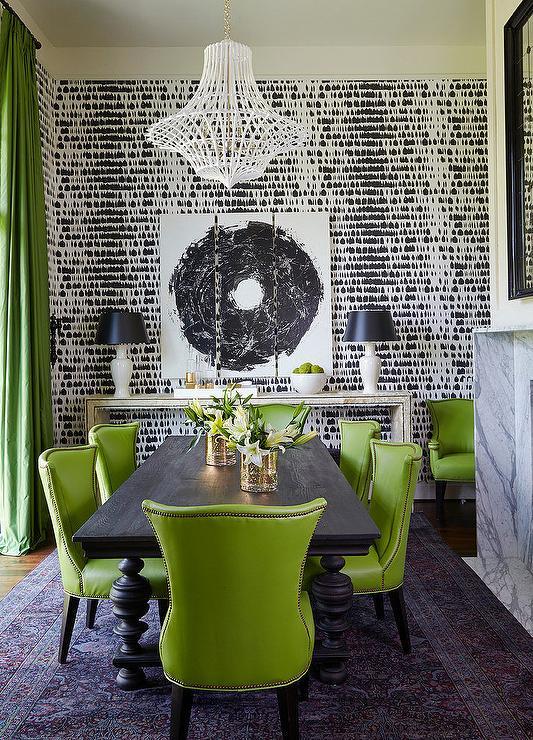 Yeşil Siyah Yemek Odası