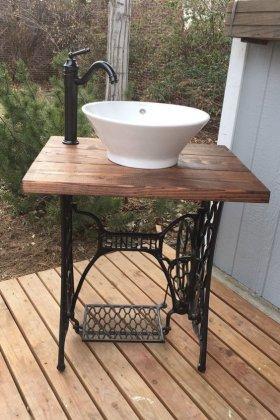Eski Dikiş Makinesinden Banyo Lavabosu Örnekleri