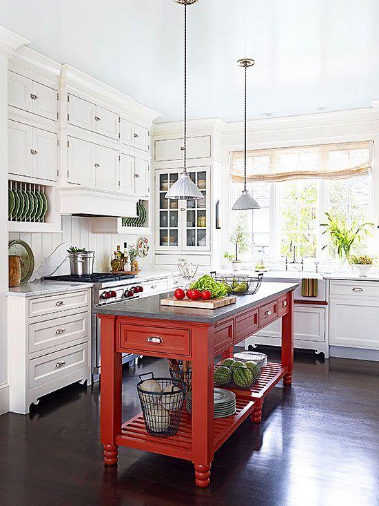 Kırmızı Beyaz Mutfak Dekorasyonu Fikirleri